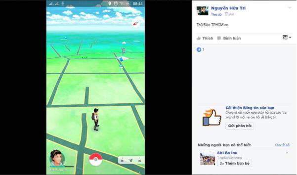 Hình ảnh trên Pokémon GO tại quận Thủ Đức, tp. HCM (Nguồn: Facebook Nguyễn Hữu Trí)