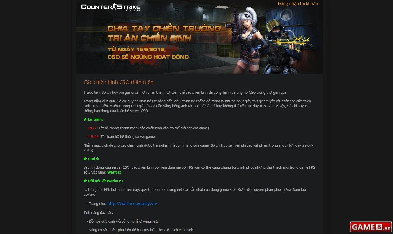Counter-Strike Online công bố đóng cửa