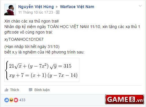GM Warface chơi lầy: Bắt game thủ giải được phương trình toán học mới cho nhận giftcode - ảnh 1