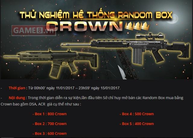 Sở chỉ huy Warface bất ngờ tung ra Ranbom Box Crown, cơ hội chưa từng có cho các game thủ nhà nghèo - ảnh 1