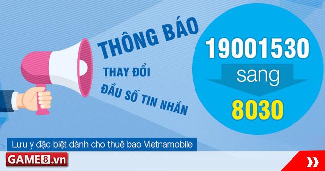 VTC Pay: Thay đổi đầu số tin nhắn chủ động 19001530 sang 8030 từ 26/1/2017