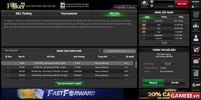 Đánh giá Poker Tounament trên cổng game PokerVTC
