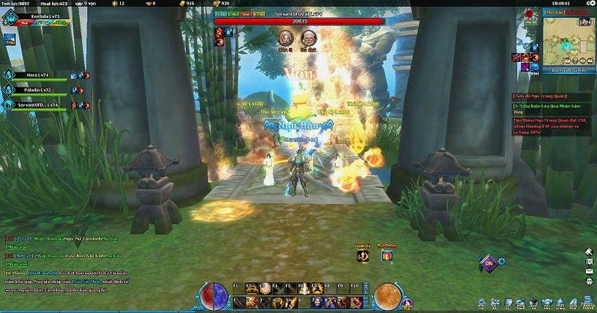 Tự do luyện cấp săn đồ trong game Ngũ Thần Online